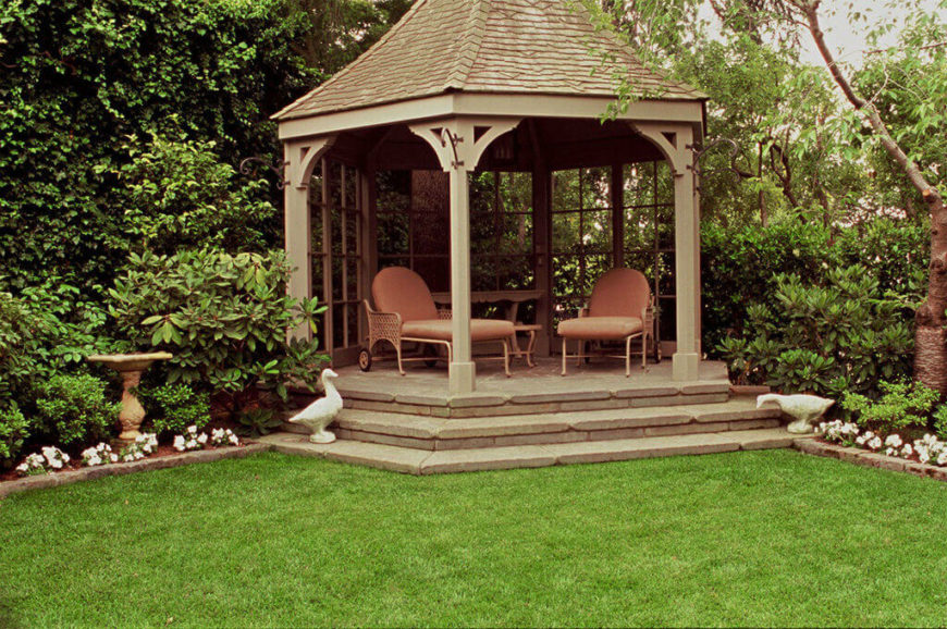 If your gazebo is on the edge of your property or bordering the woods, you may want to close off some sides of the structure. This can make your gazebo more private and cozy.