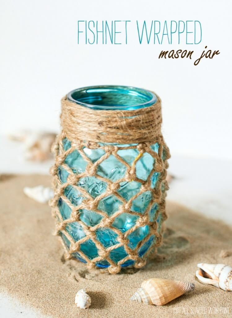 bit of twine over a blue mason jar has a decidedly beachy feel and