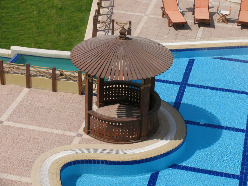 This decorative gazebo is a fun spot to hang out and watch the swimmers in the pool. It makes for a nice shady place to read a book and enjoy the summer.