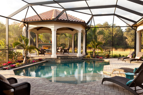 Gazebos can have various features. Features like a fireplace make the gazebo a warm and welcoming spot to dry off when you are finished with an afternoon swim.