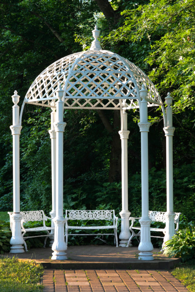This gazebo is a great place for a few relaxing benches. Retreat to this gazebo to kick back and enjoy your surroundings. The design is beautiful and makes a great design piece and central focus for your yard.