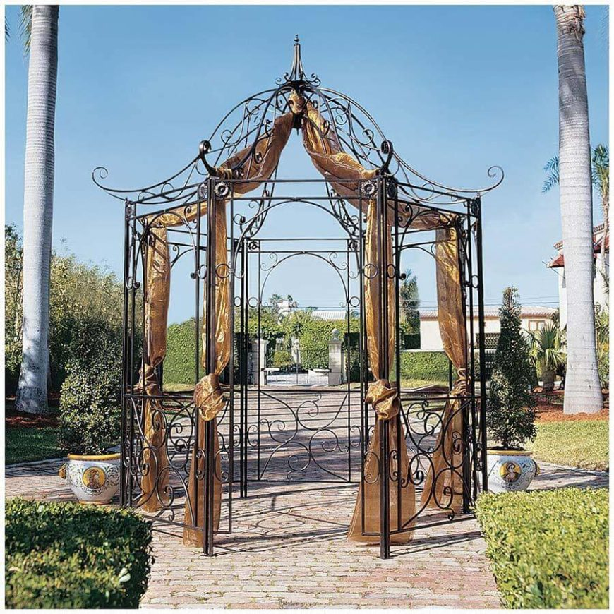 34 metal gazebo ideas to enhance your yard and garden with for Metal frame pergola designs