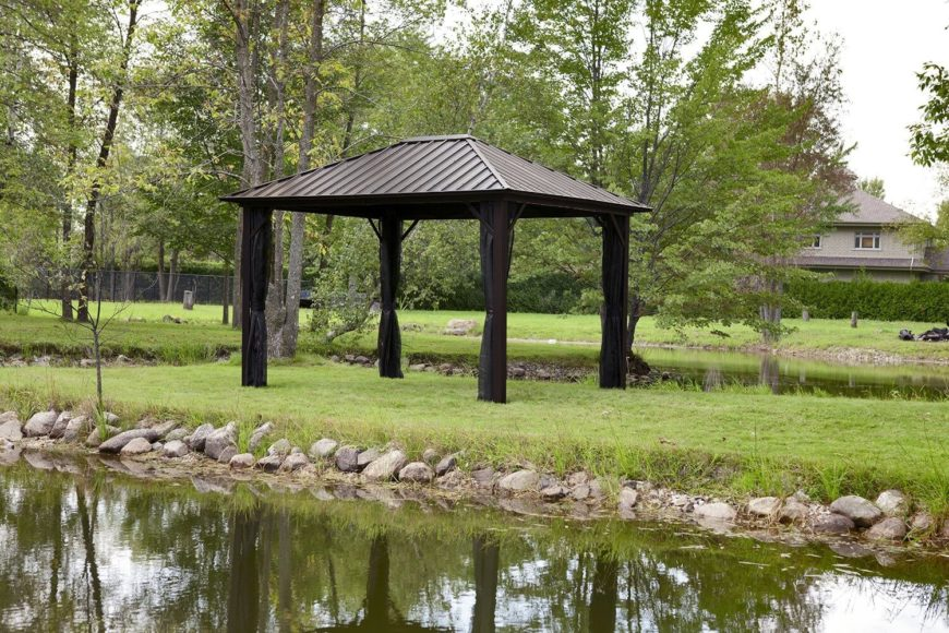 This gazebo serves as a nice respite from the sun while out in the yard near the pond. You can experience the cool breeze roll in off the water while taking it easy in the shade.