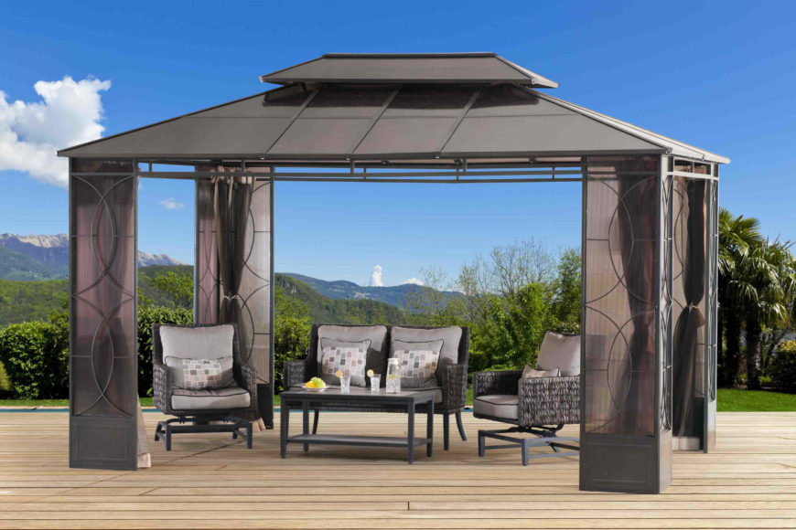 outdoor gazebo with curtains