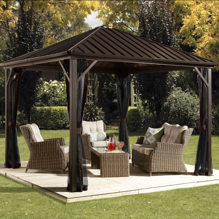 Metal gazebos are universal, so a simple model such as this will pair with nearly any style of furniture. Dining sets, as well as more relaxed pieces such as these, work perfectly with this gazebo. Almost any piece of furniture will look great under this structure.