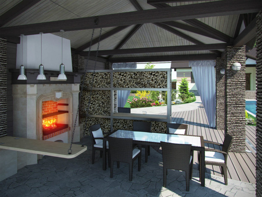 This enormous pavilion style gazebo is stacked with plenty of firewood to keep the brick wood-fired fireplace and oven running. While not the typical grill, this is a great example of using a gazebo to cover and enclose an outdoor cooking area.