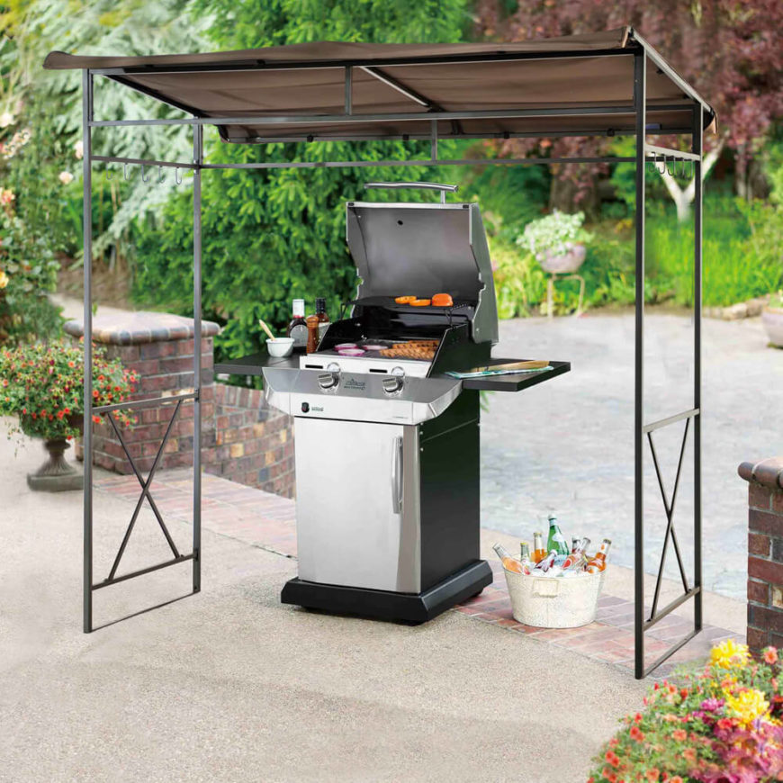This aluminum and canvas grill gazebo comes with attached hooks to hang utensils and supply baskets from, and is easy to assemble.