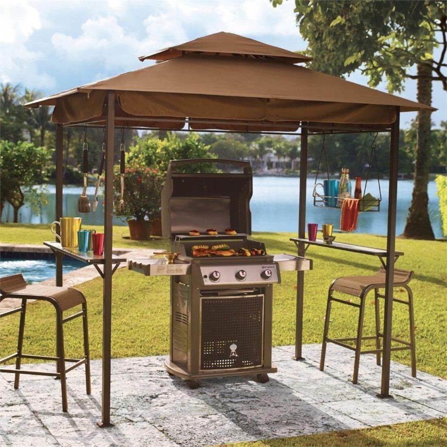 This is a lovely budget-friendly grill gazebo that is easy to set up and sturdy enough to withstand rain and snow. The bars around the edges work well to hang shelving and utensils.