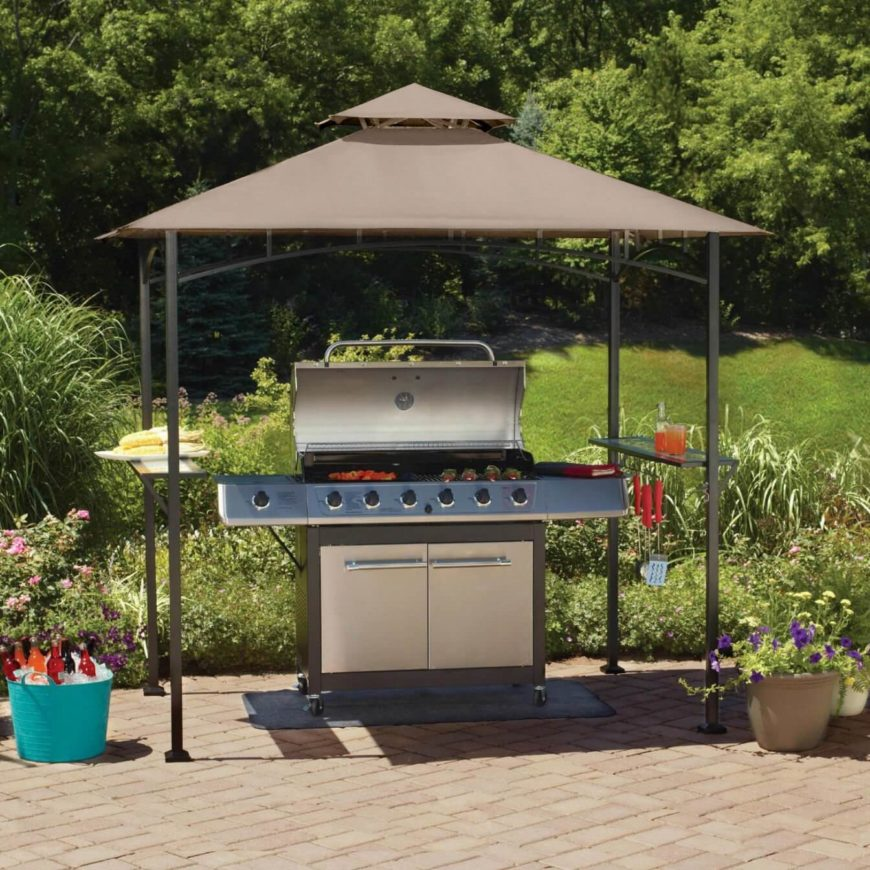 For those on a budget, this small gazebo is just the right size to keep rain and snow off your grill, in addition to pollen in the spring. On the sides are glass panels which act as an extra space to prepare or set food and drinks on.