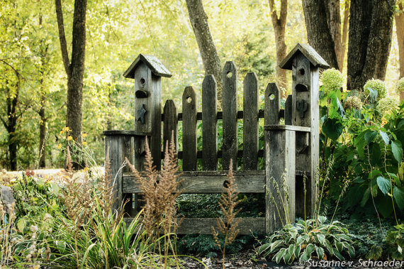 This is more than just a decorative rustic wooden garden bench: it also has symmetrical birdhouses on each side.