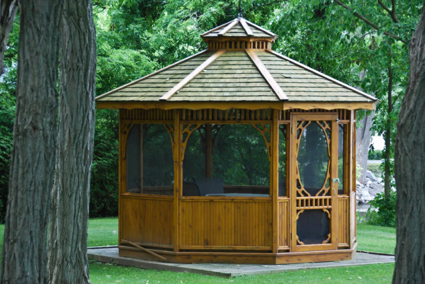 27 gazebos with screens for bug free backyard relaxation. Black Bedroom Furniture Sets. Home Design Ideas