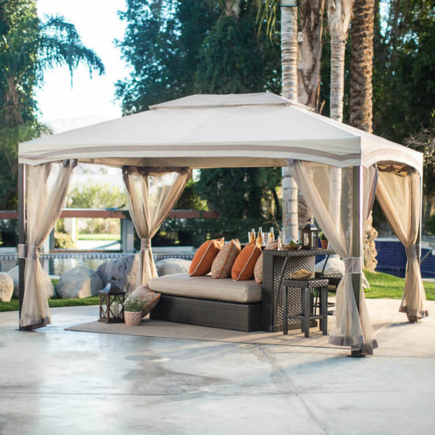Most gazebos with curtains also have straps that can tie the curtains out of the way. Even when tied back, curtains can provide a nice design element to the gazebo, making the space look neat.