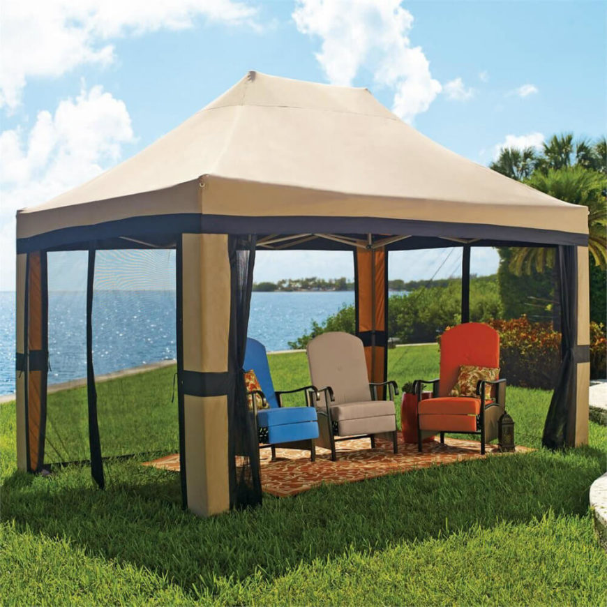 This is a pop up gazebo that is perfect for moving and setting up wherever you need a bit of extra coverage in your yard. It can be taken down and stored whenever you no longer need to use it.