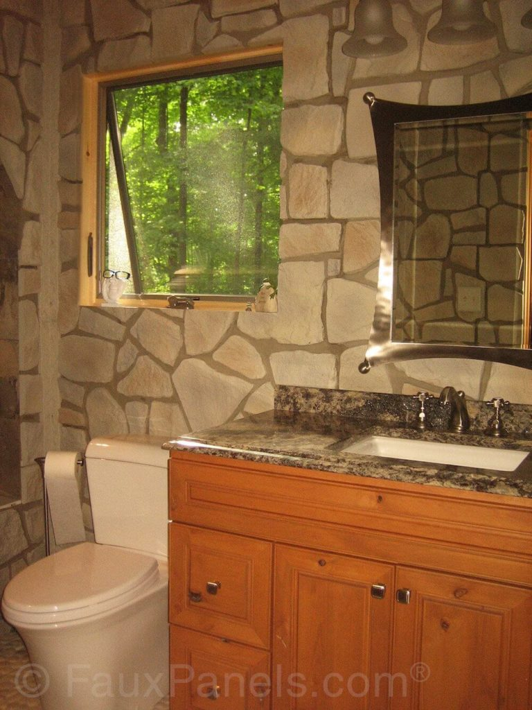 Faux river rock panels - The Thick Grout Lines And Stones In Different Shapes And Sizes Make The Faux Stone Look