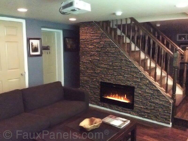 30 faux brick and rock panel ideas pictures for Fireplace half stone