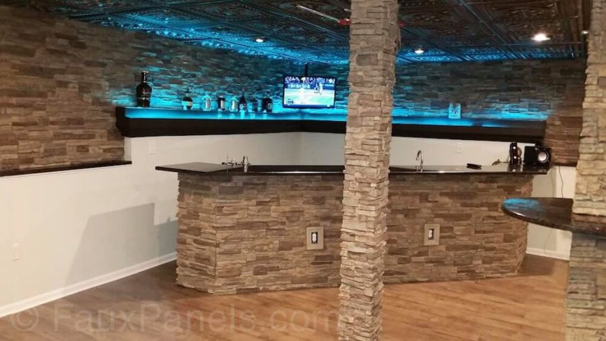There Is A Wealth Of Faux Stone In This Basement Home Bar. The Walls,