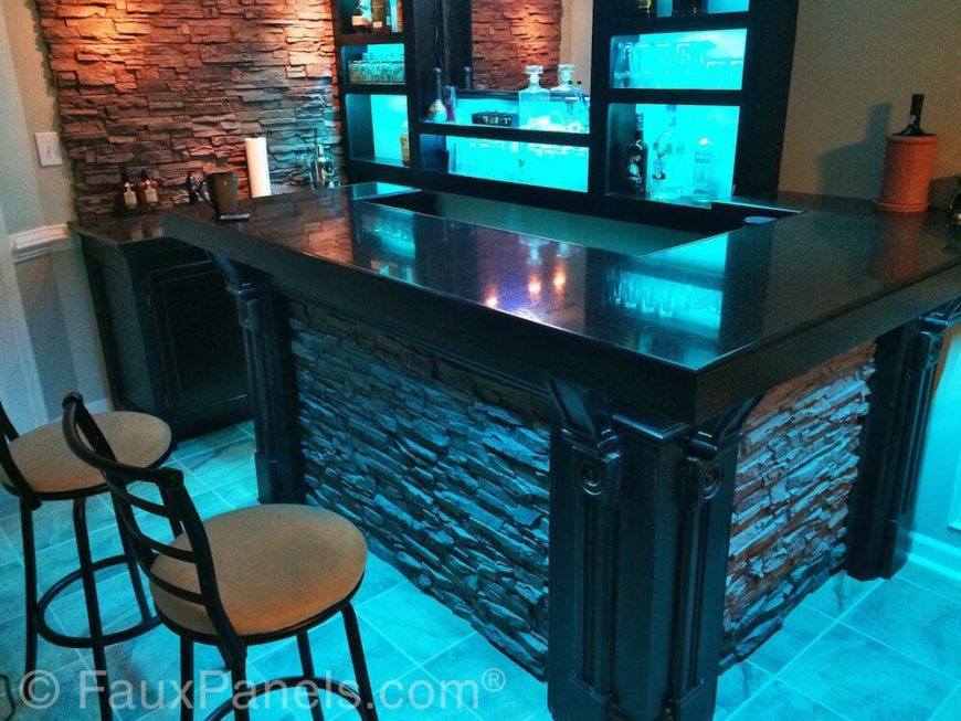 30 faux brick and rock panel ideas pictures - Home wine bar designs ...