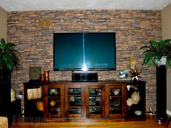 Man Cave With Brick Wall : Faux brick and rock panel ideas pictures