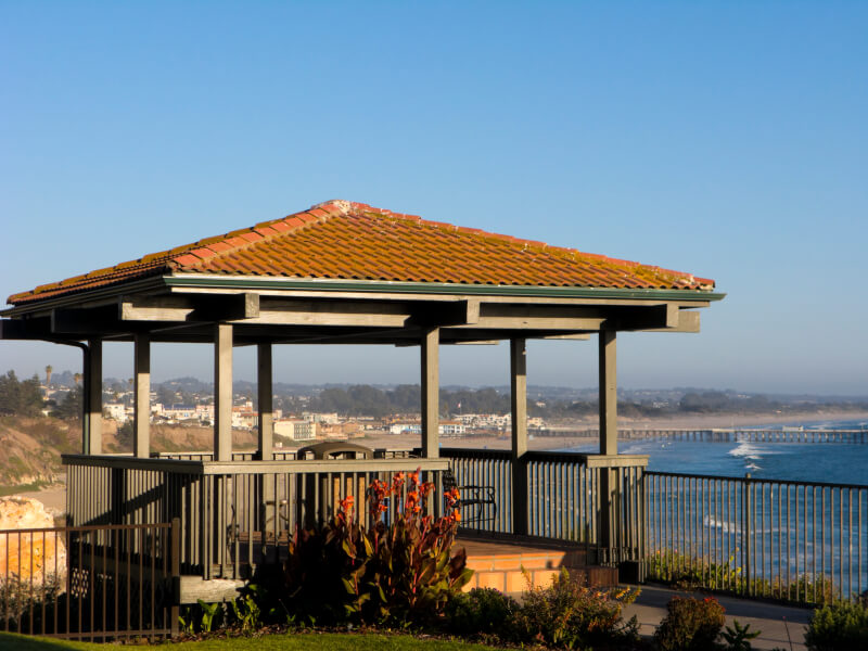 A gazebo on a hill or other elevated location makes for a wonderful place to overlook the surrounding scenery.
