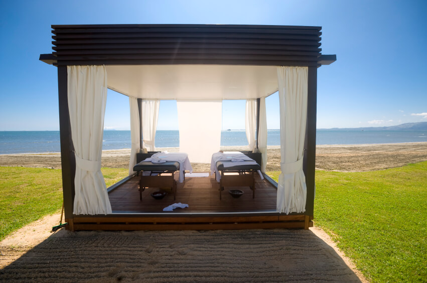 For a relaxed time out by the ocean, an elegant gazebo escape like this can be perfect. You will feel like you are at your own personal resort getaway.