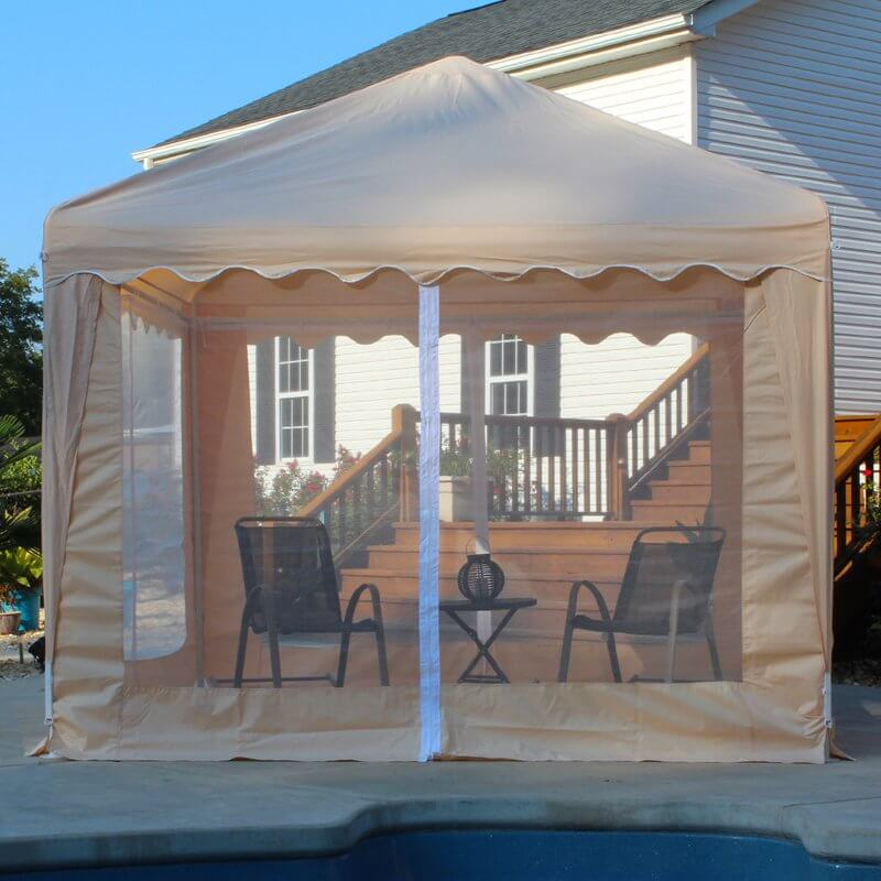 This screened gazebo will help keep you insect free while you hang out in your backyard. You can keep the party going late into the night without having to worry about nighttime bugs interrupting your good time.