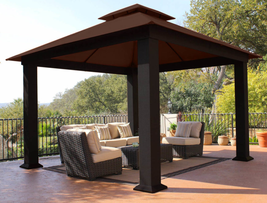 This square gazebo serves its intended purpose perfectly. It is stylish, but does not draw attention away from the comfortable furniture underneath it.