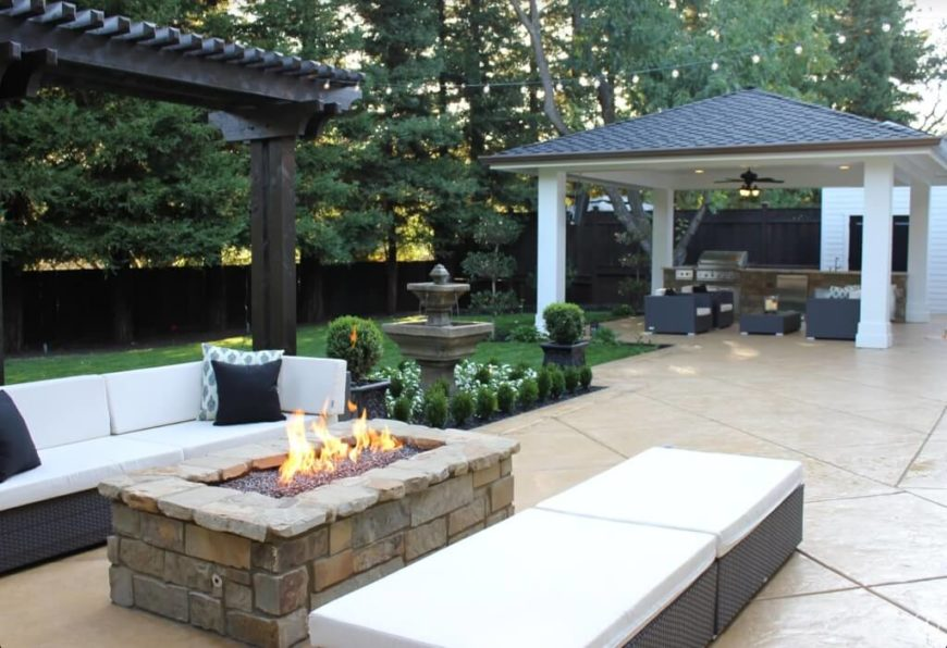 This Gazebo Has Multiple Lighting Features And Houses Some Relaxing And  Inviting Patio Furniture As Well