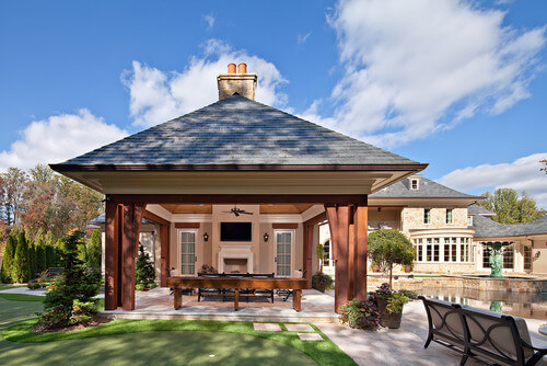 This large gazebo with a tall ceiling is a great spot for a gathering. Relaxing and socializing with your friends near the pool under this gazebo will have you and your friends hanging out in comfort.