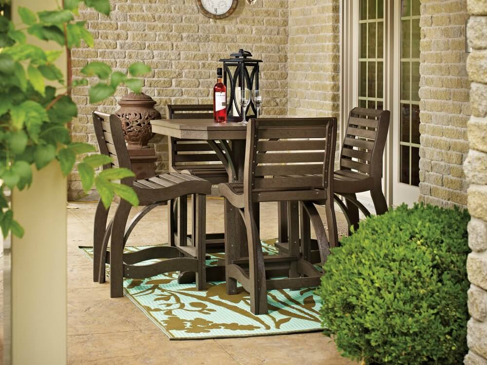 Small Patio Table And Chairs Part - 48: Traditional Natural Wood Small Patio Dining Table For 4 People
