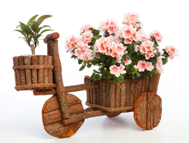Here's rustic bicycle model planter made with wood branches and bark.