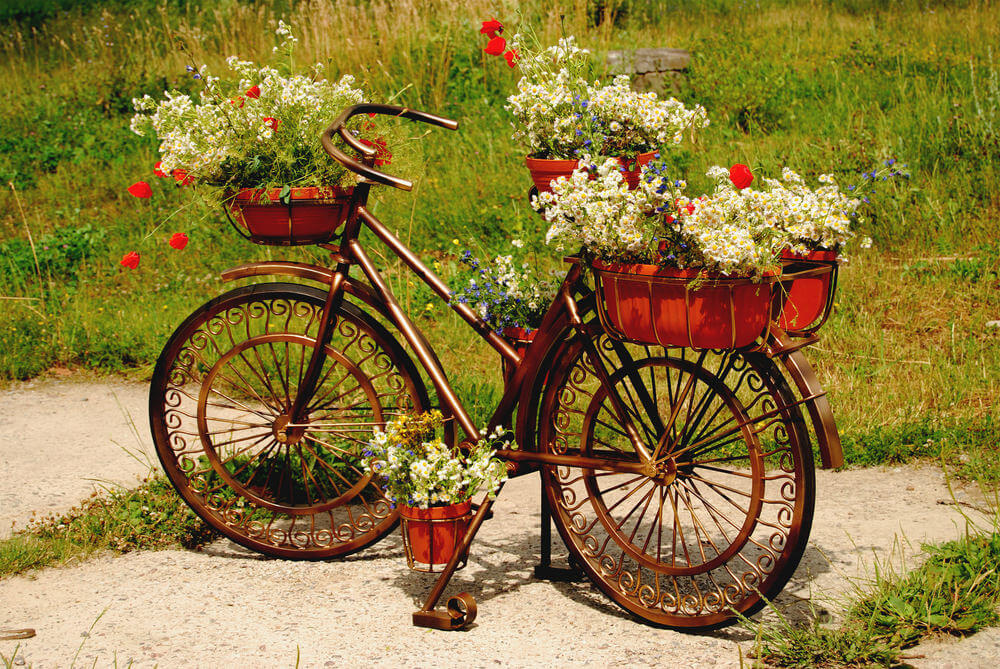 Wild hippy rust and red colored bicycle holding red flower pots with white flowers.