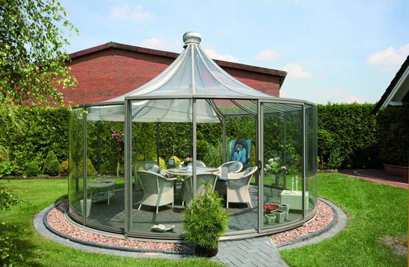 This Round Gazebo Is Encased In Glass With A Peaked Top The Gazebo Has A  With Garden Pavilion Gazebo
