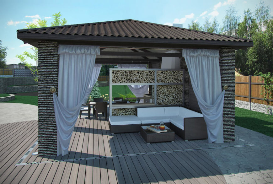Here is a sturdy structure that is suitable for multiple uses. There is a dining area as well as a lounge. This structure basically creates an open air home away from home.