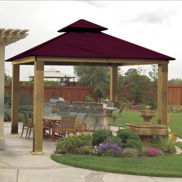 This patio gazebo covers a nice long bar area as well as a relaxing eating spot. You can have many great times with family and friends while hanging out in this backyard gathering spot.