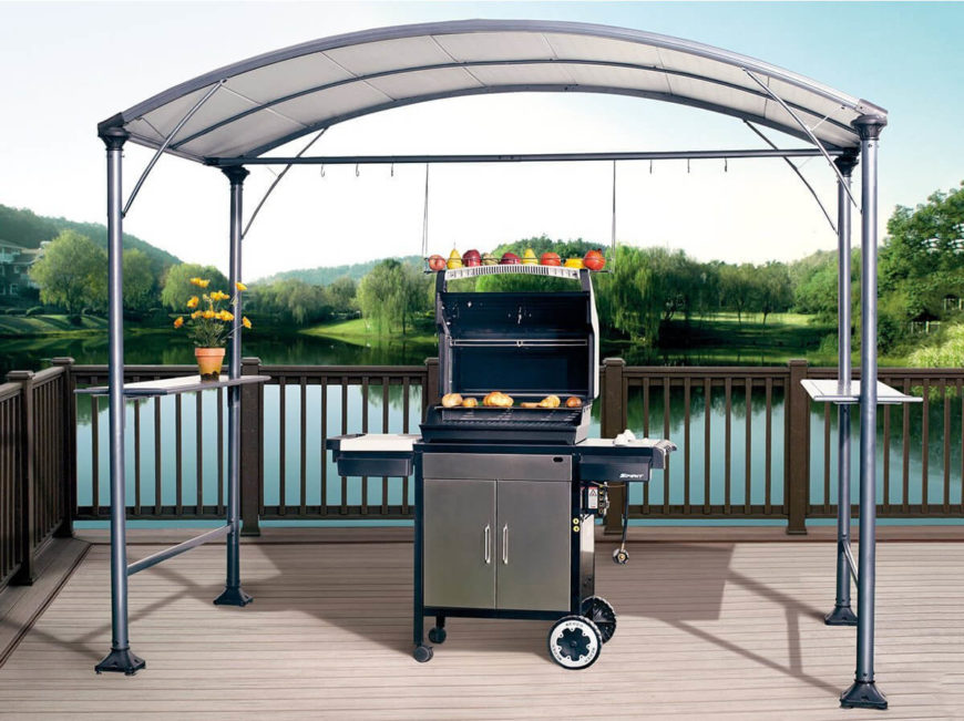 This small utility gazebo is ideal for placing over features that you want to protect from the weather. Here we see it standing over a grill. This gives you the ability to have cookouts in all kinds of weather.