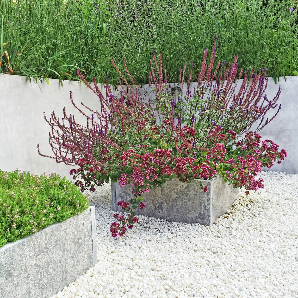 35 patio potted plant and flower ideas creative and lovely photos another example of a cement flower pot on a white gravel patio baanklon Images