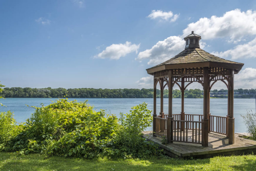 If you have an elevated spot that looks over a lake it may be well suited for a gazebo. A gazebo that can be a shady place where you can relax and look out over the still waters.