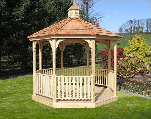 This gazebo is ideal for a backyard, out in the grass and near a garden. You can sit there in the shade in a relaxing chair and take in the colors, smells, and a light breeze that the outdoors offers.