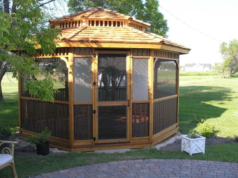 This gazebo is equipped with screened windows that keep out the bugs and pests that try to interrupt and ruin your summer afternoon in the shade. Don't let bugs spoil your reading time!
