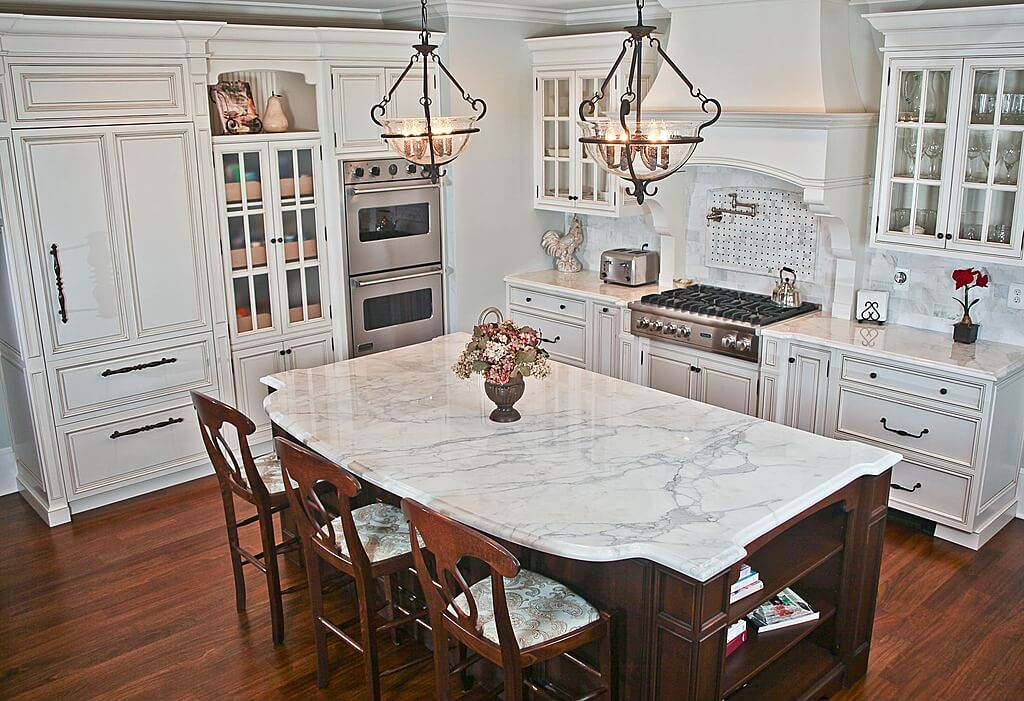 Classic White Kitchen with Marble