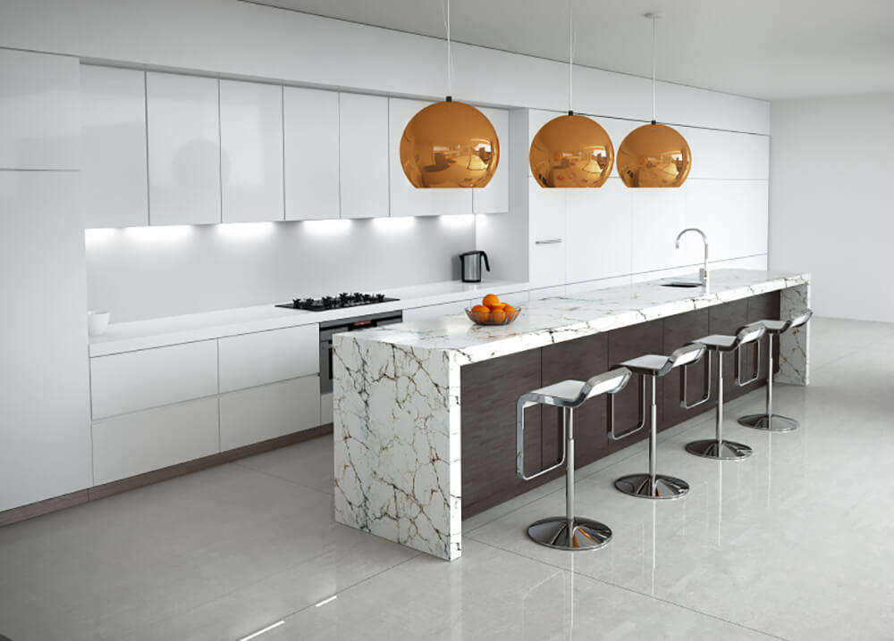 White Kitchen with Focal Island and Metallic Globe Lights
