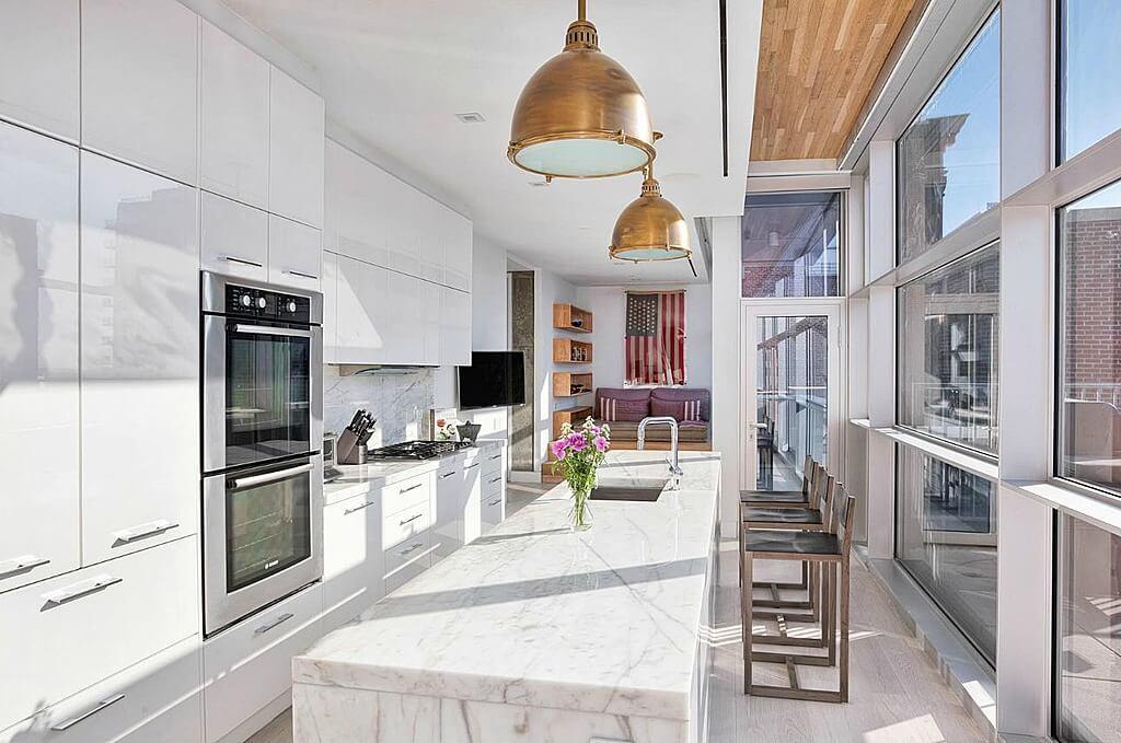 Lengthy Galley Kitchen In White