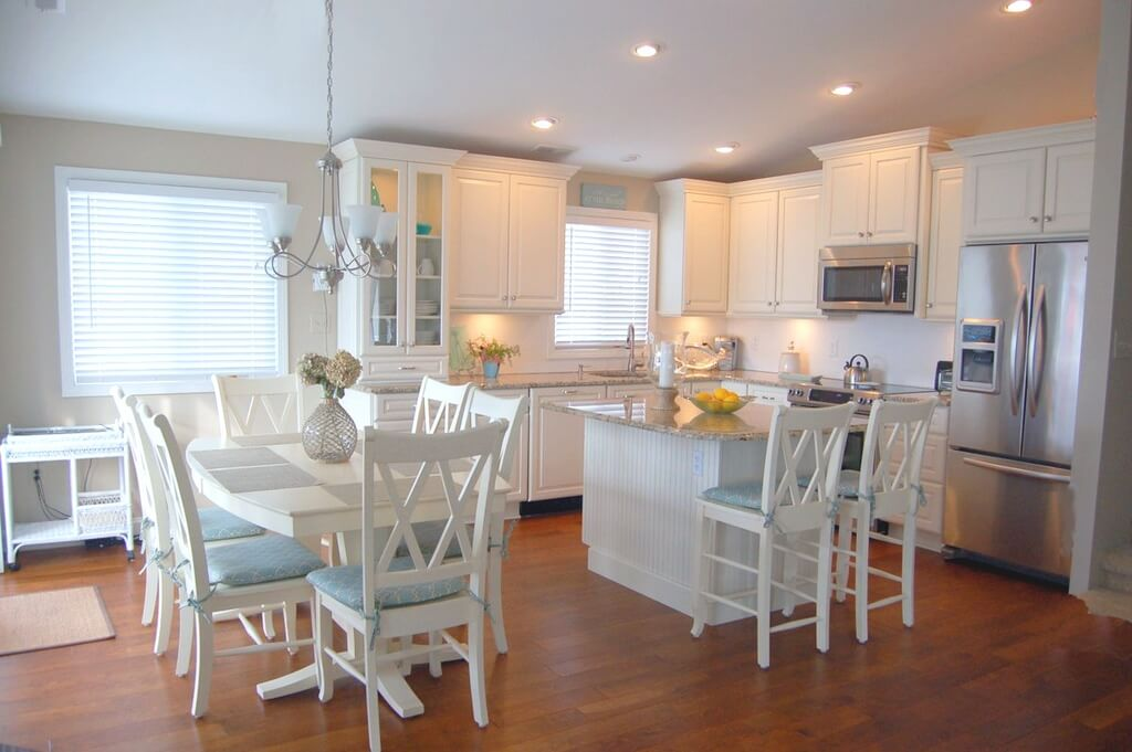 Bright and Airy White Kitchen with Pale Blue Accents