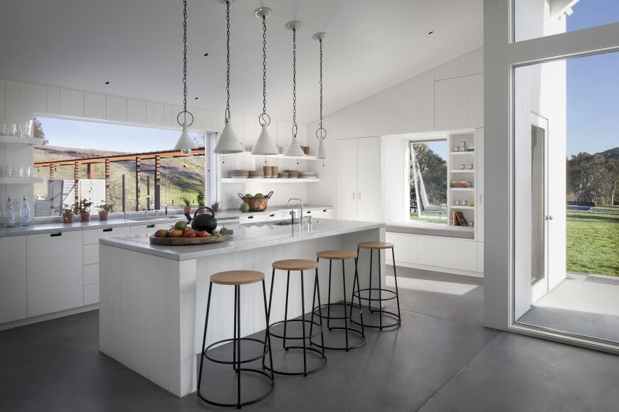 Simple White Kitchen with Picture Windows