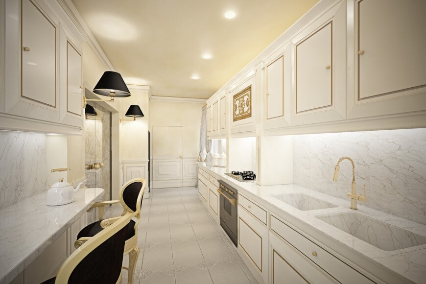 Opulent White Kitchen with Gold Accents