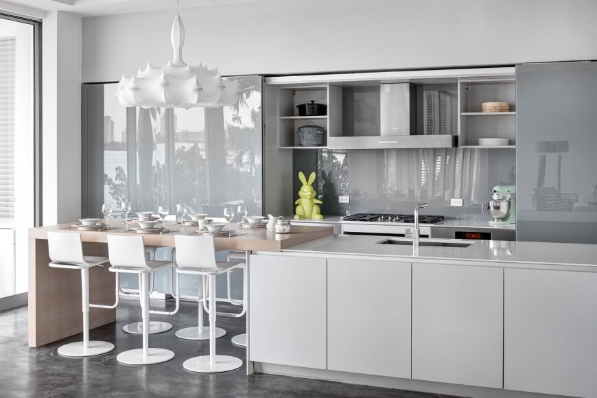 White and Gray Kitchen with Unique Chandelier