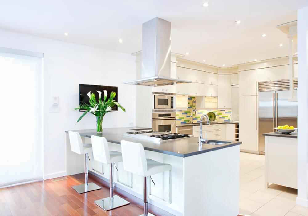 Bright White Kitchen with a Bold Backsplash