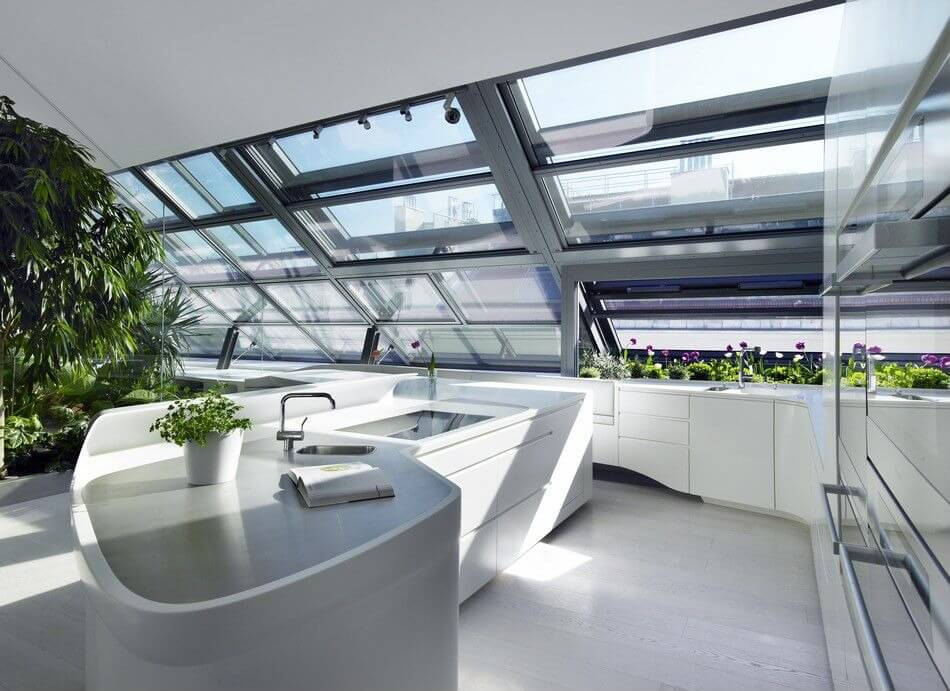 """White """"Greenhouse"""" Kitchen With Lots of Light"""