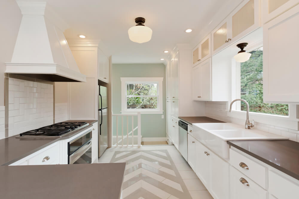 Quaint Contemporary Kitchen with Chevron Patterned Floors