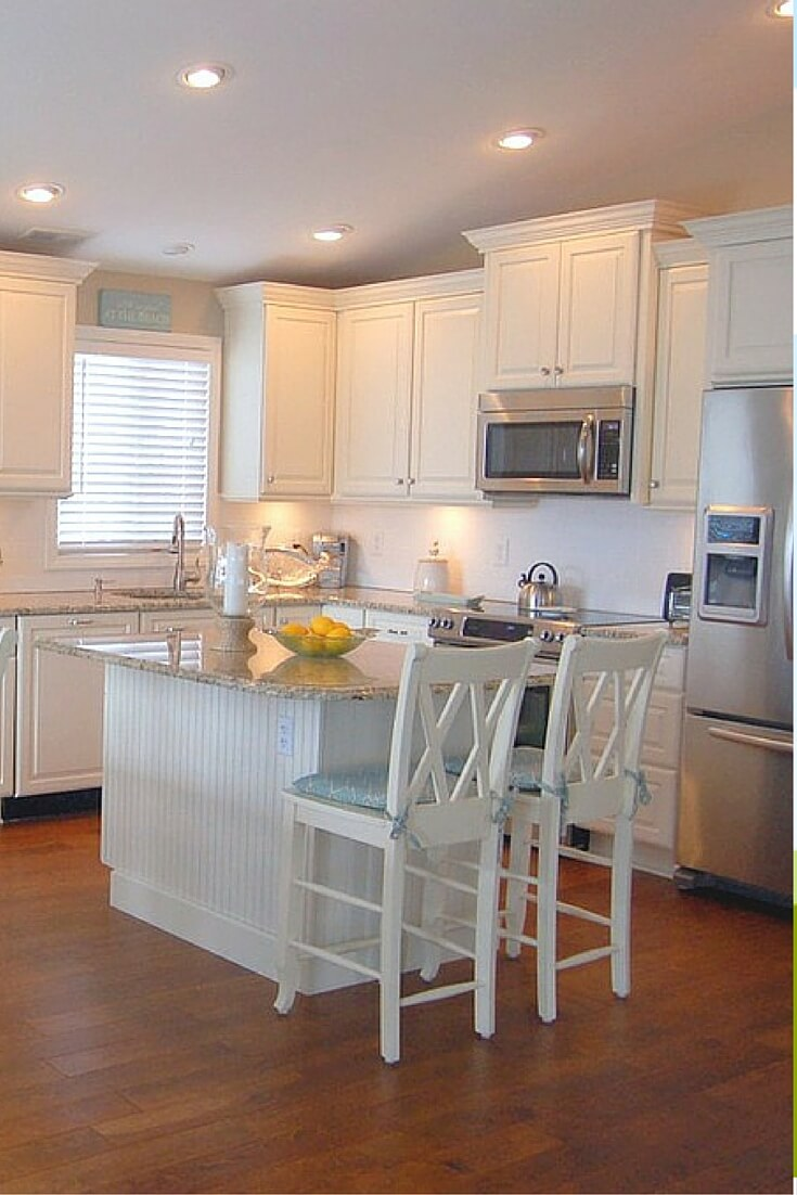 Small White Kitchen Design 19. White And Cream Kitchen With Eat In  Butcheru0027s Block Island